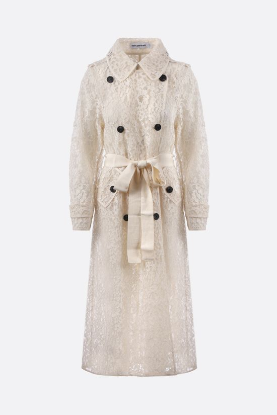 SELF PORTRAIT: double-breasted floral lace trench coat Color White_1