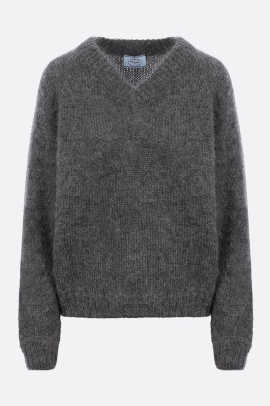 PRADA: oversize mohair blend pullover Color Grey_1