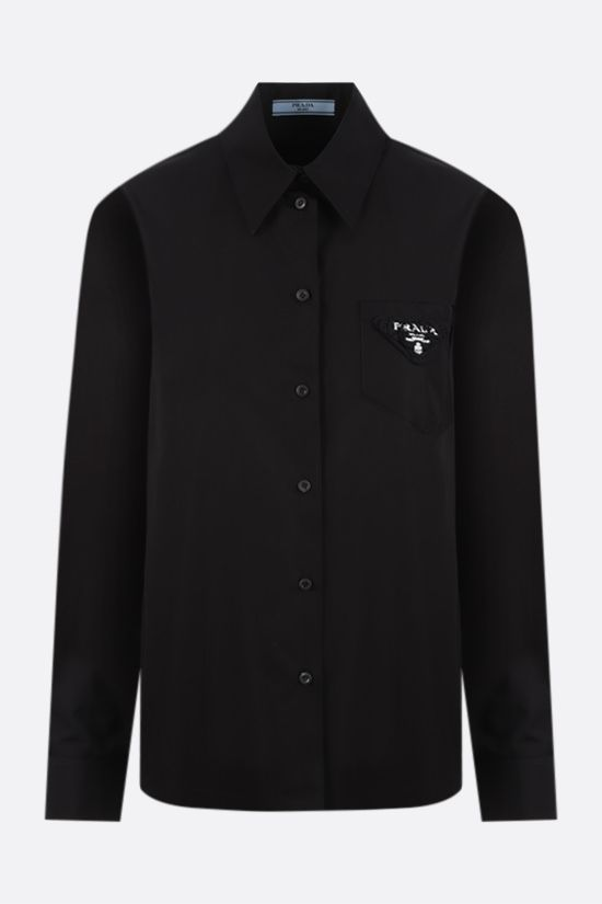 PRADA: logo-detailed poplin shirt Color Black_1