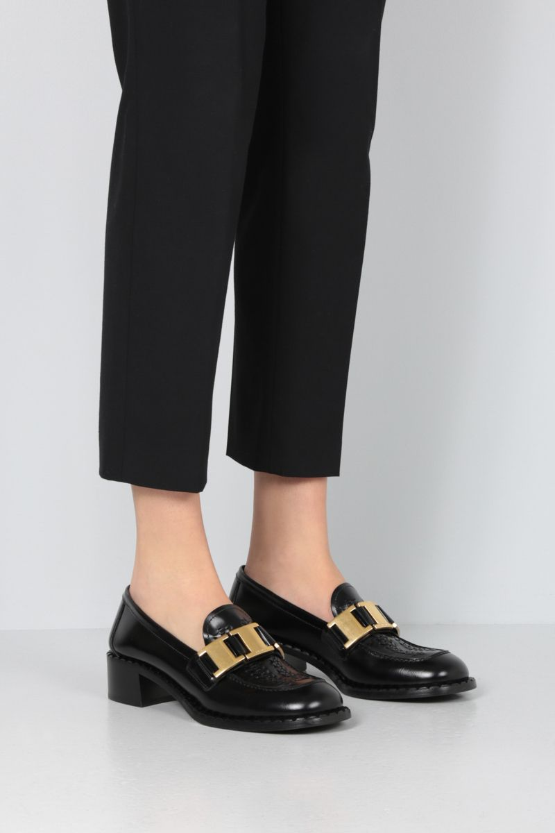 PRADA: fumè brushed calf loafers Color Black_2