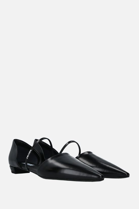 PRADA: brushed leather slippers Color Black_2