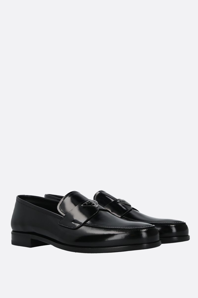 PRADA: logo-detailed brushed leather loafers Color Black_2