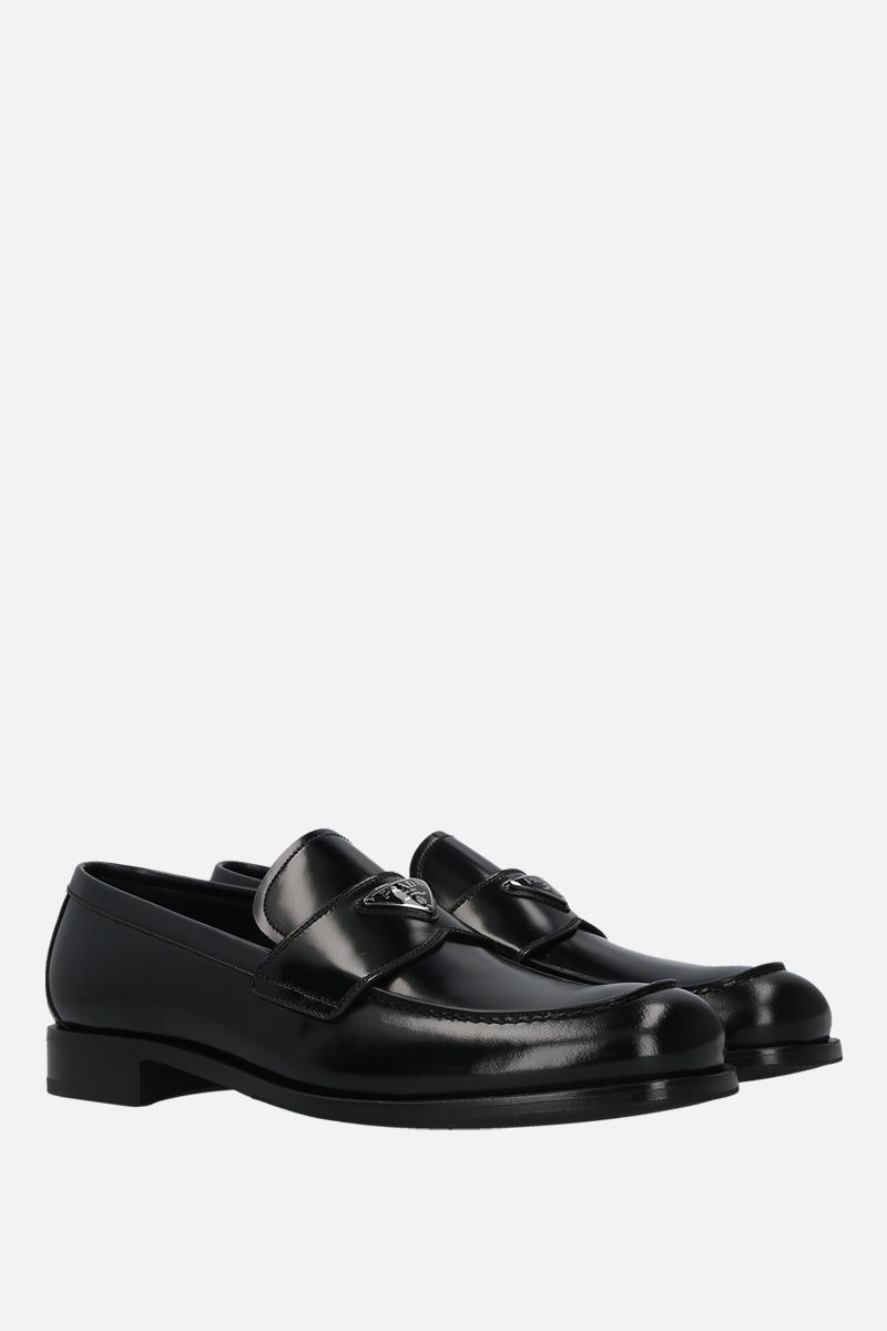 PRADA: brushed leather loafers Color Black_2