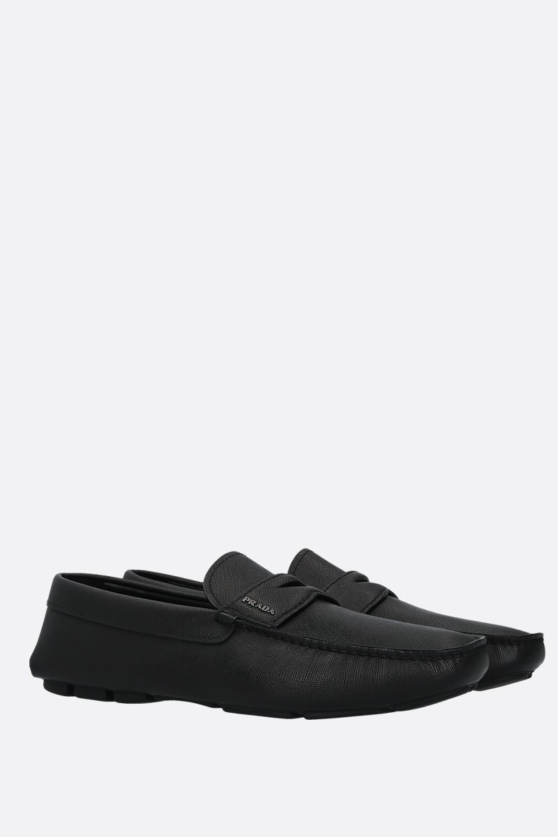 PRADA: Saffiano leather driving loafers Color Black_2