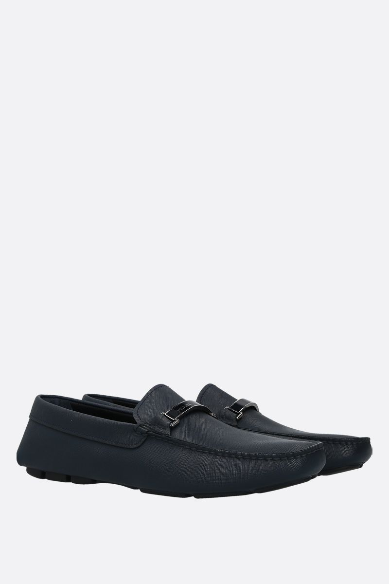 PRADA: Saffiano leather loafers Color Blue_2