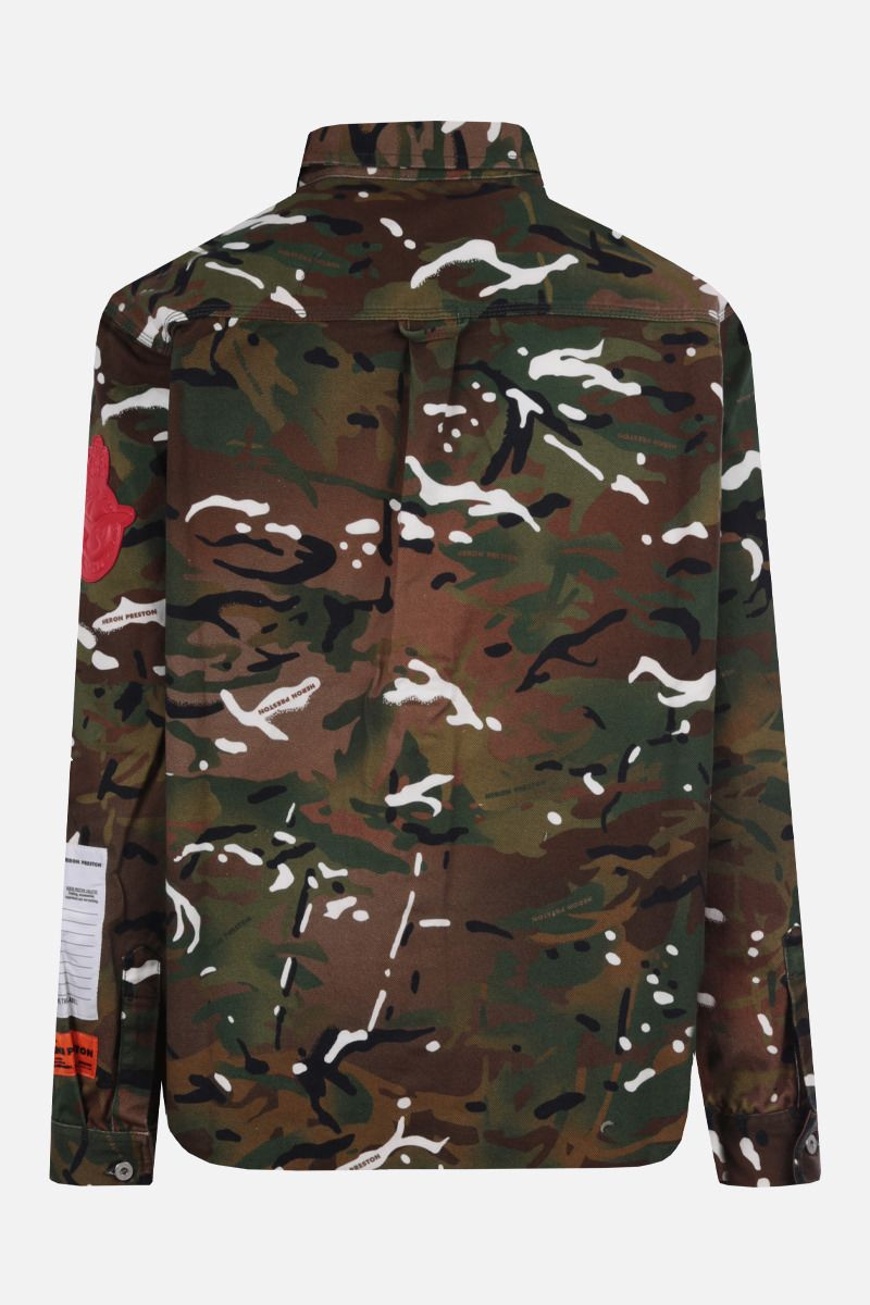 HERON PRESTON: camouflage print cotton shirt Color Green_2