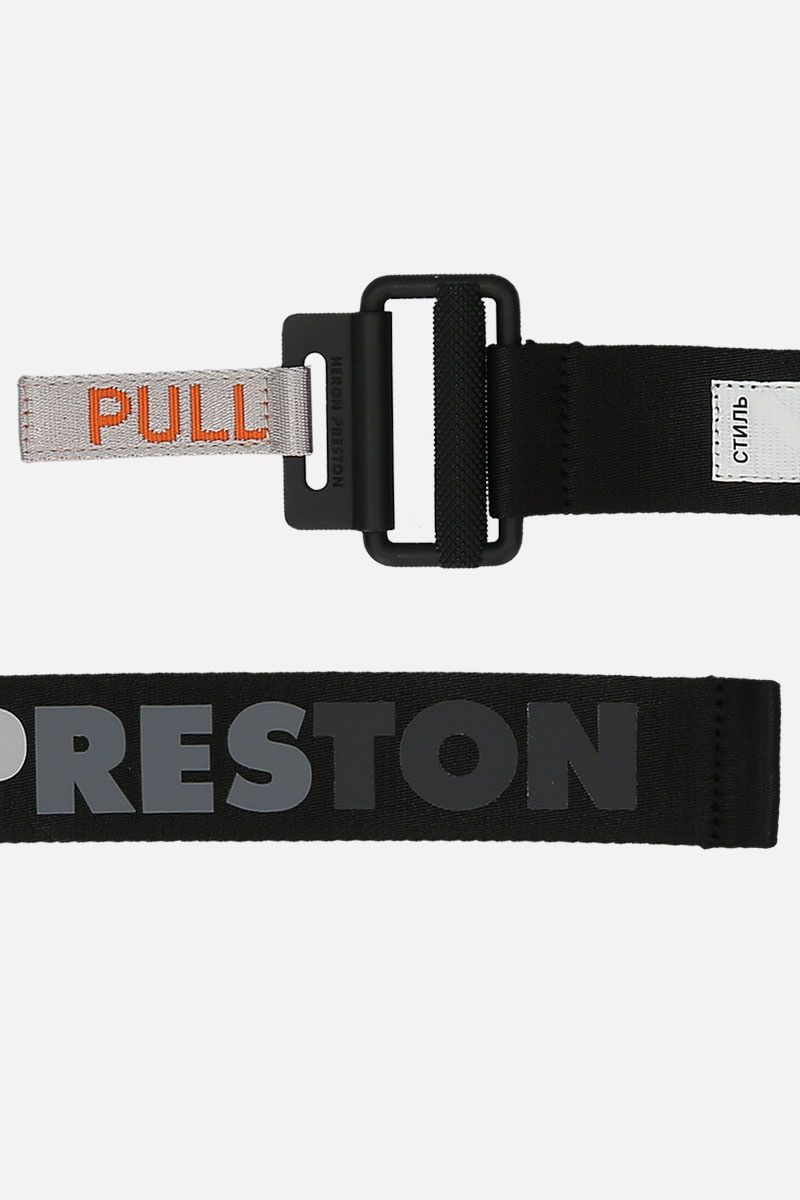 HERON PRESTON: Tape belt in logoed fabric Color Black_2