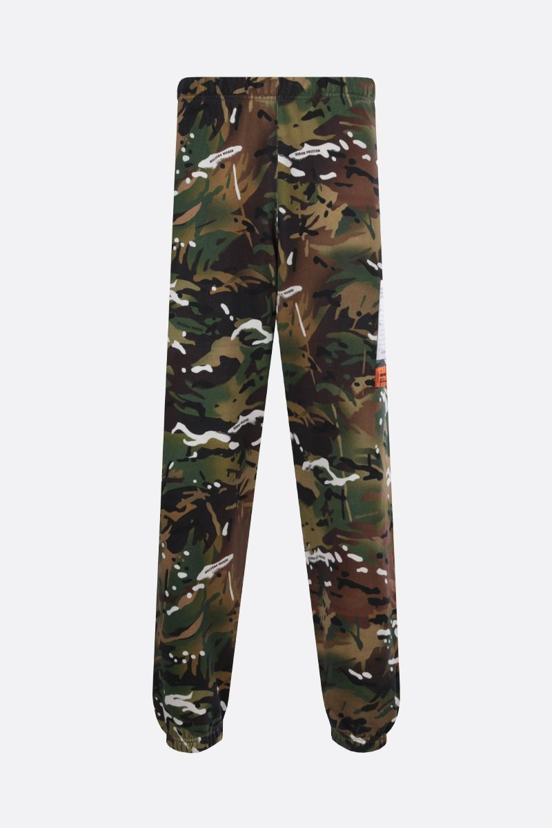 HERON PRESTON: camouflage print cotton joggers Color Green_1