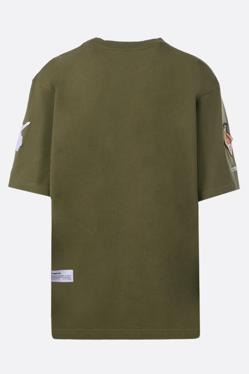 HERON PRESTON: t-shirt oversize in cotone stampa British Army Colore Verde_2