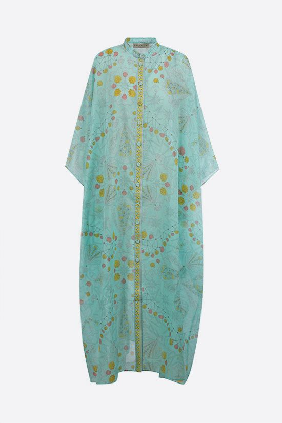 EMILIO PUCCI: seashell print cotton kaftan Color Blue_1