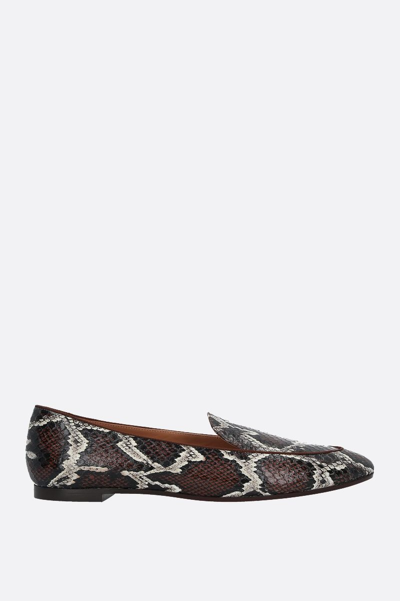 AQUAZZURA: Purist snakeskin loafers Color Brown_1