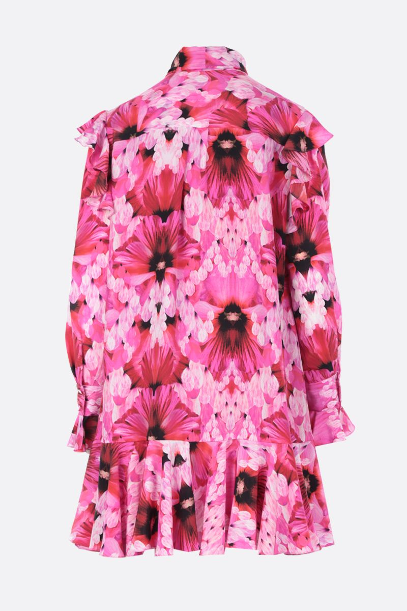 ALEXANDER McQUEEN: Exotic Floral print silk short dress Color Pink_2