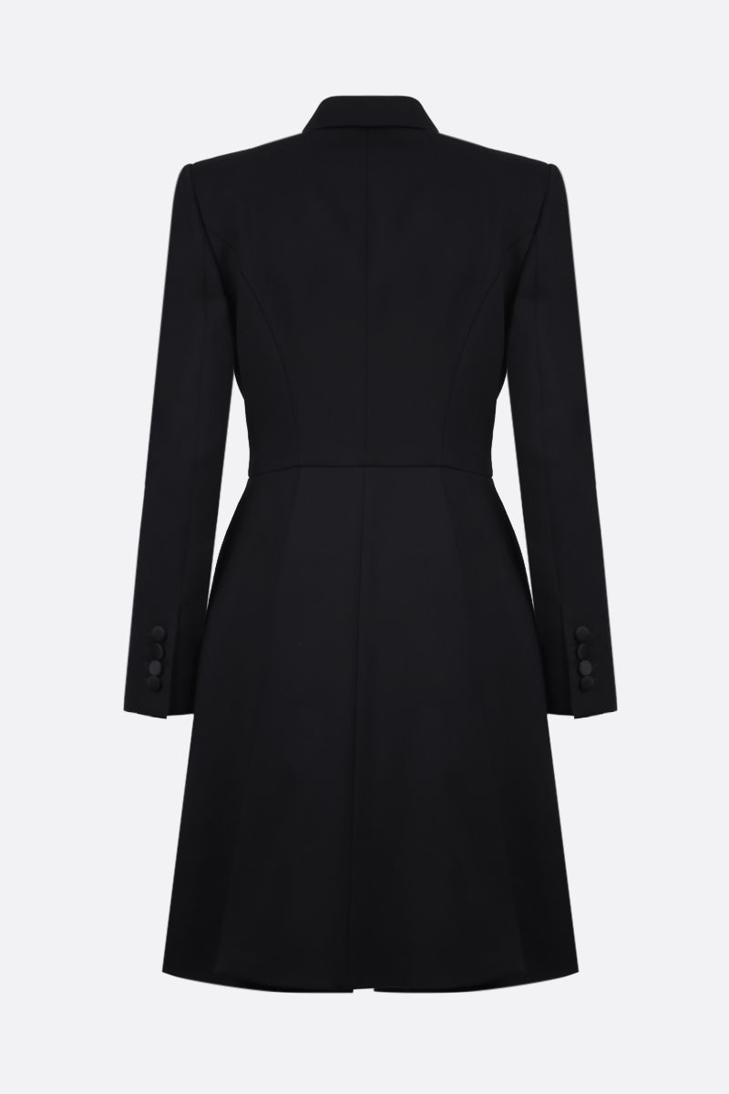 ALEXANDER McQUEEN: wool silk blend souble-breasted blazer-dress Color Black_2