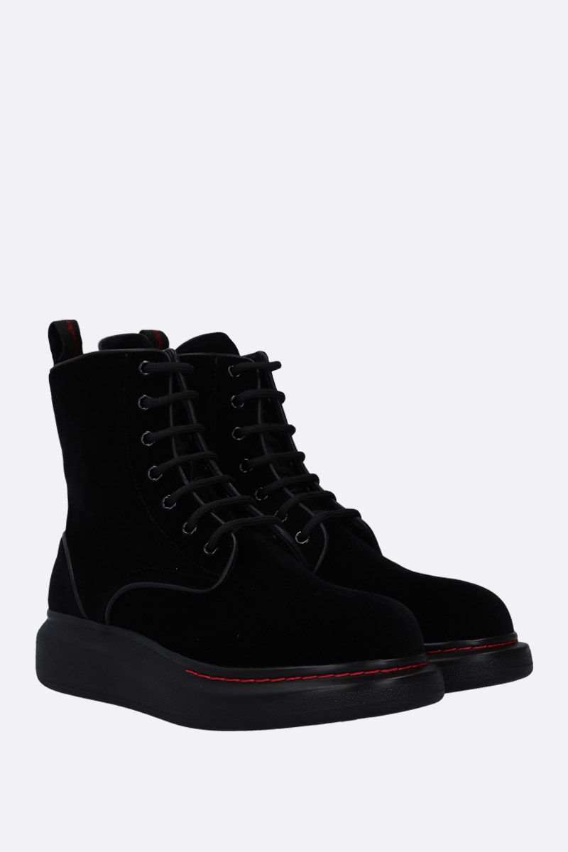 ALEXANDER McQUEEN: Hybrid velvet ankle boots with leather details Color Black_2