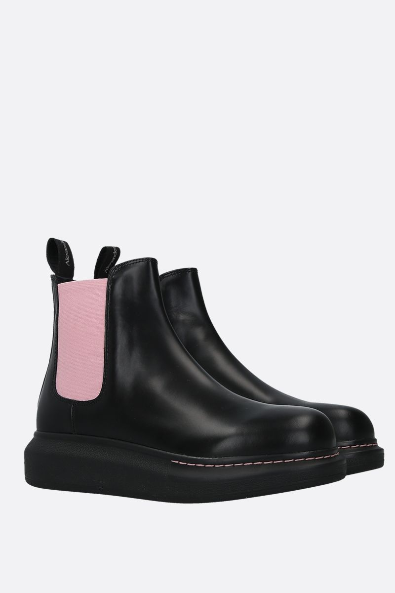 ALEXANDER McQUEEN: Hybrid smooth leather chelsea boots Color Black_2