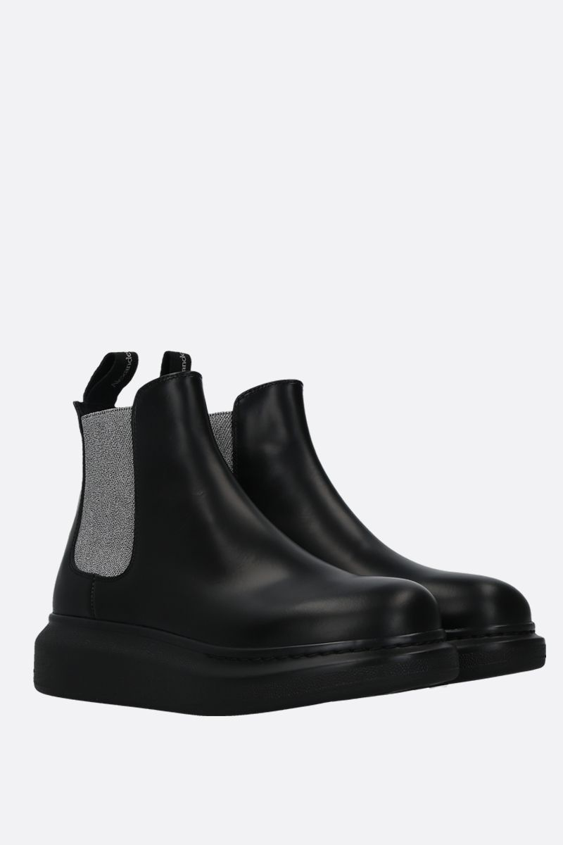 ALEXANDER McQUEEN: Hybrid brushed leather chelsea boots Color Black_2