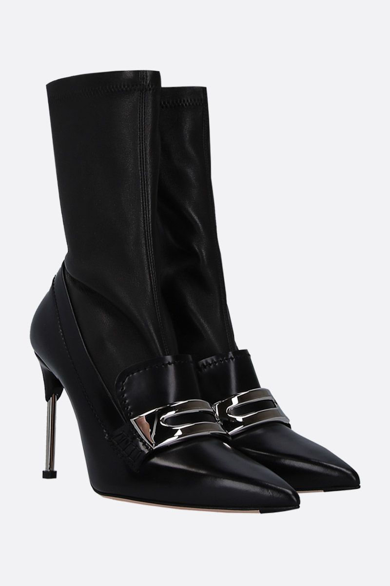 ALEXANDER McQUEEN: shiny leather and stretch nappa mocassin boots Color Black_2