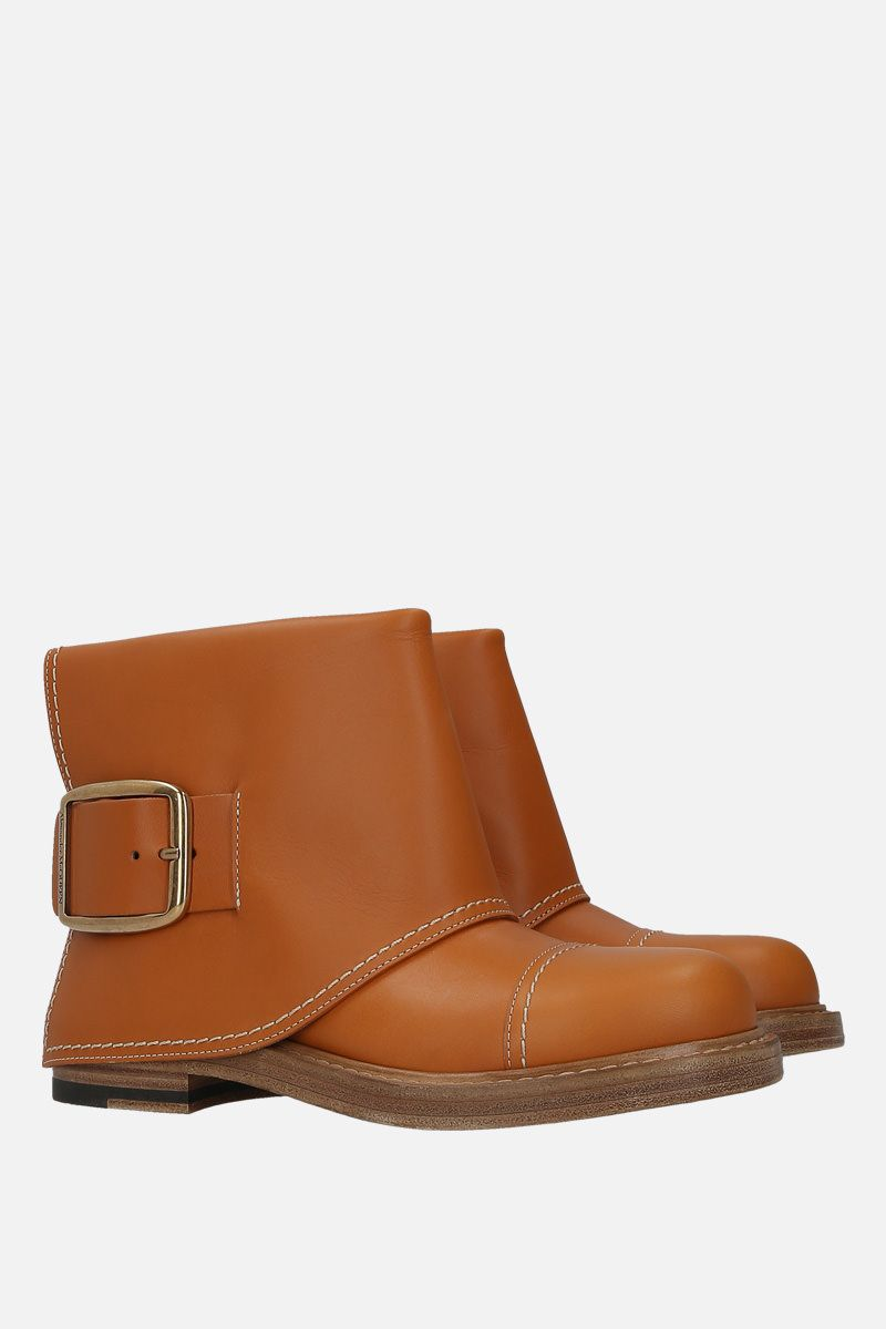 ALEXANDER McQUEEN: smooth leather ankle boots Color Brown_2