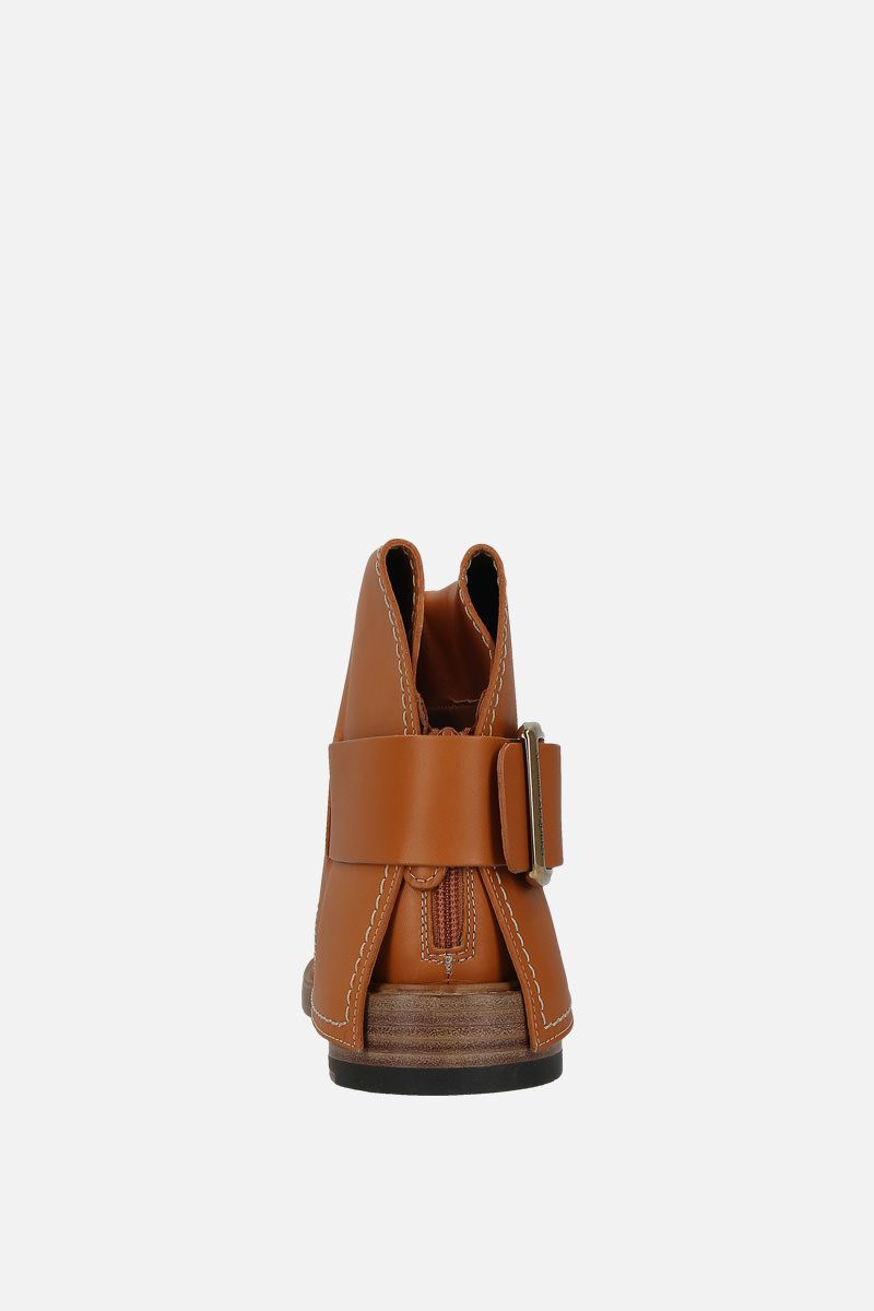 ALEXANDER McQUEEN: smooth leather ankle boots Color Brown_3