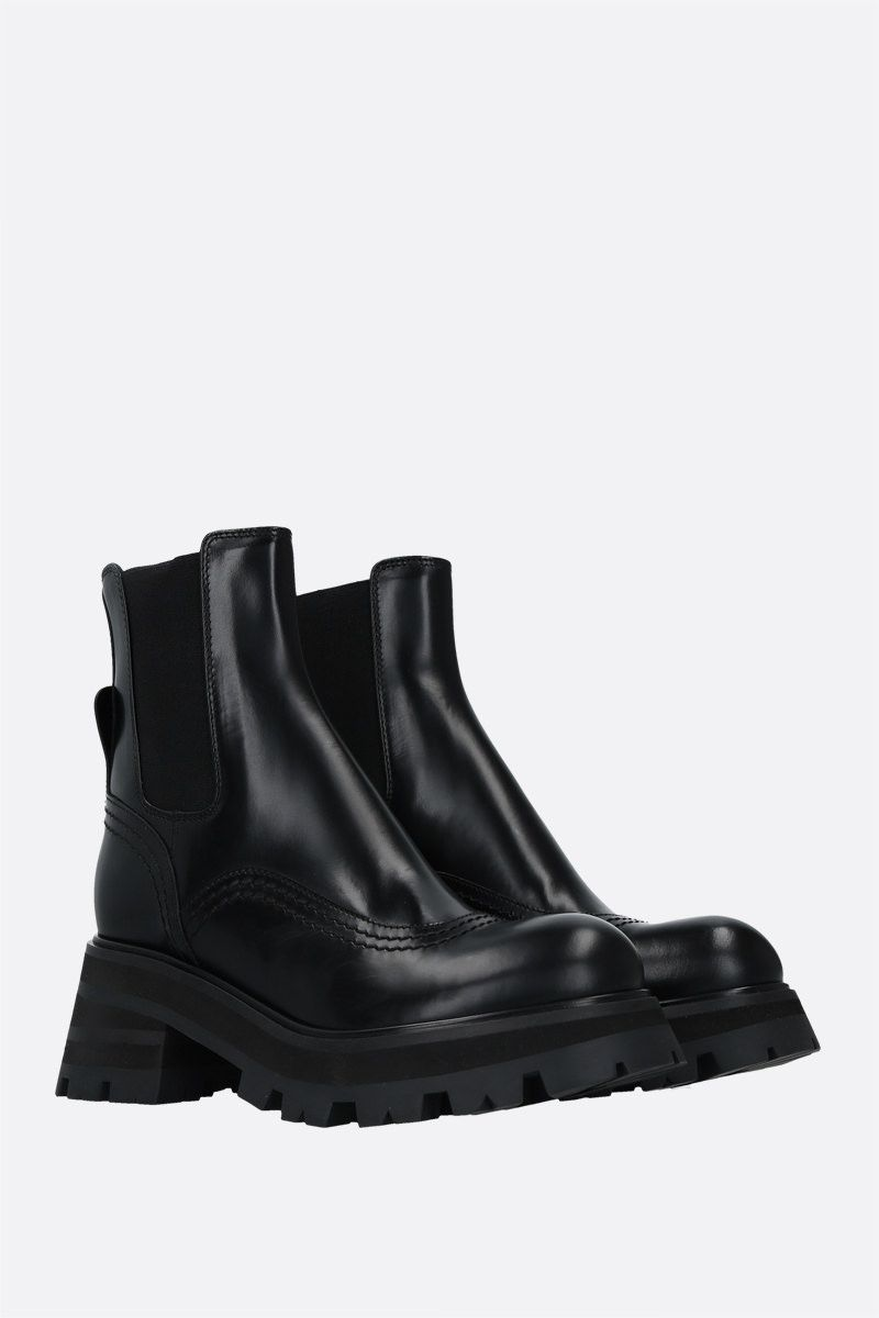 ALEXANDER McQUEEN: shiny leather chelsea boots Color Black_2