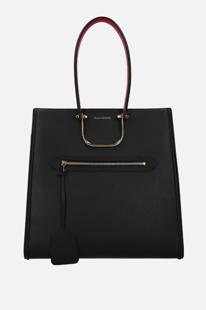 ALEXANDER McQUEEN: The Tall Story tote bag in smooth leather Color Black_2