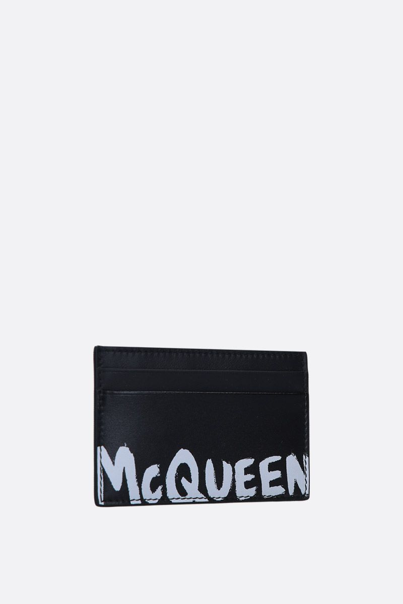ALEXANDER McQUEEN: logo print smooth leather card case Color Black_2