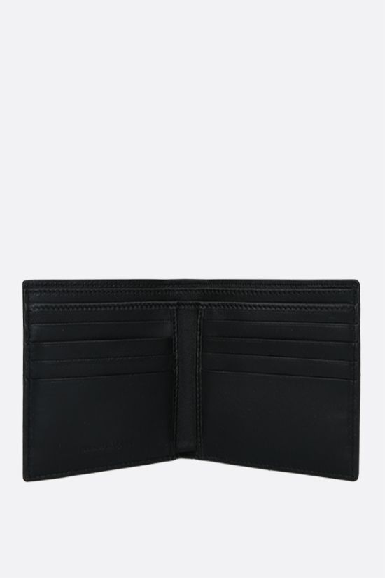 ALEXANDER McQUEEN: logo print smooth leather billfold wallet Color Black_2