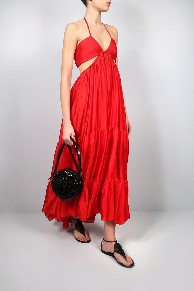 ALEXANDRE VAUTHIER: flounce-detailed silk long dress Color Red_2