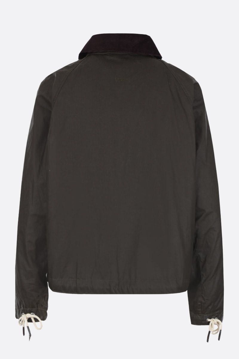 BARBOUR BY ALEXA CHUNG: giubbotto oversize Margot in canvas resinato Colore Verde_2