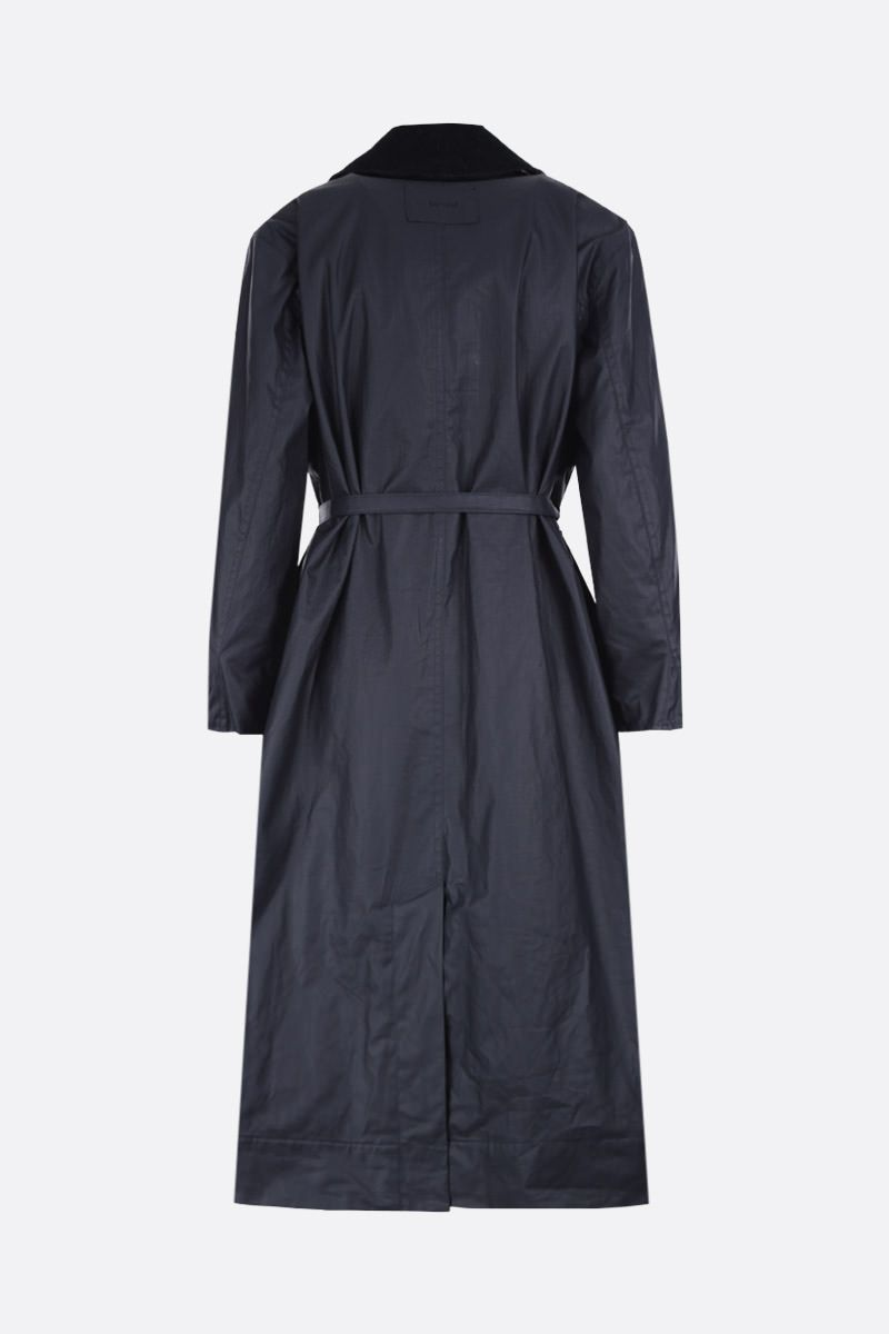 BARBOUR BY ALEXA CHUNG: Mildred oversized overocat in waxed canvas Color Blue_2
