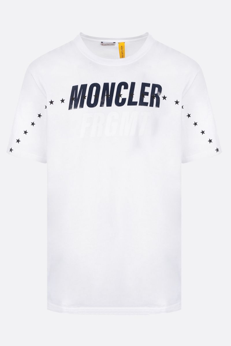MONCLER GENIUS: t-shirt in cotone stampa logo Colore White_1