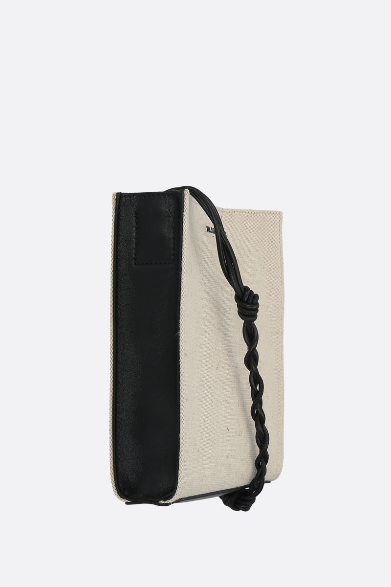JIL SANDER: borsa a spalla Tangle small in canvas e pelle liscia Colore Nero_2