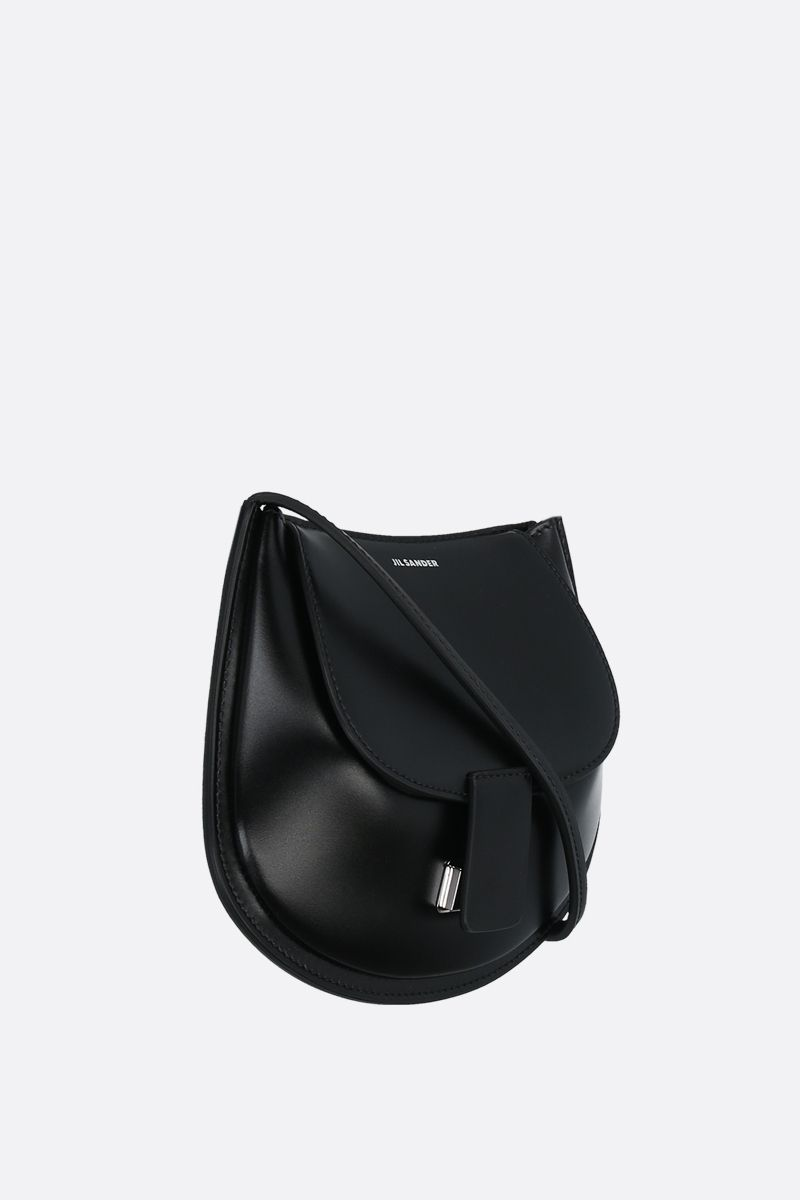 JIL SANDER: Crescent small smooth leather crossbody bag Color Black_2