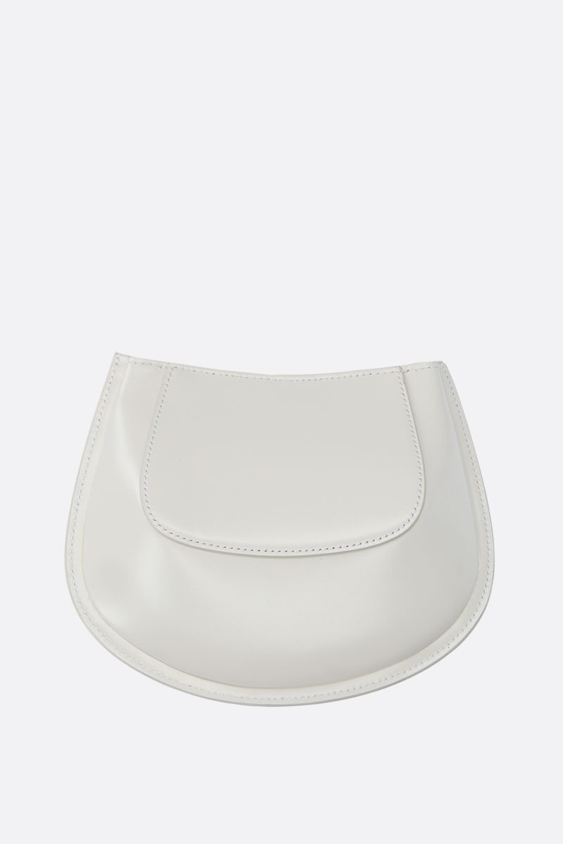 JIL SANDER: Crescent small smooth leather crossbody bag Color White_4