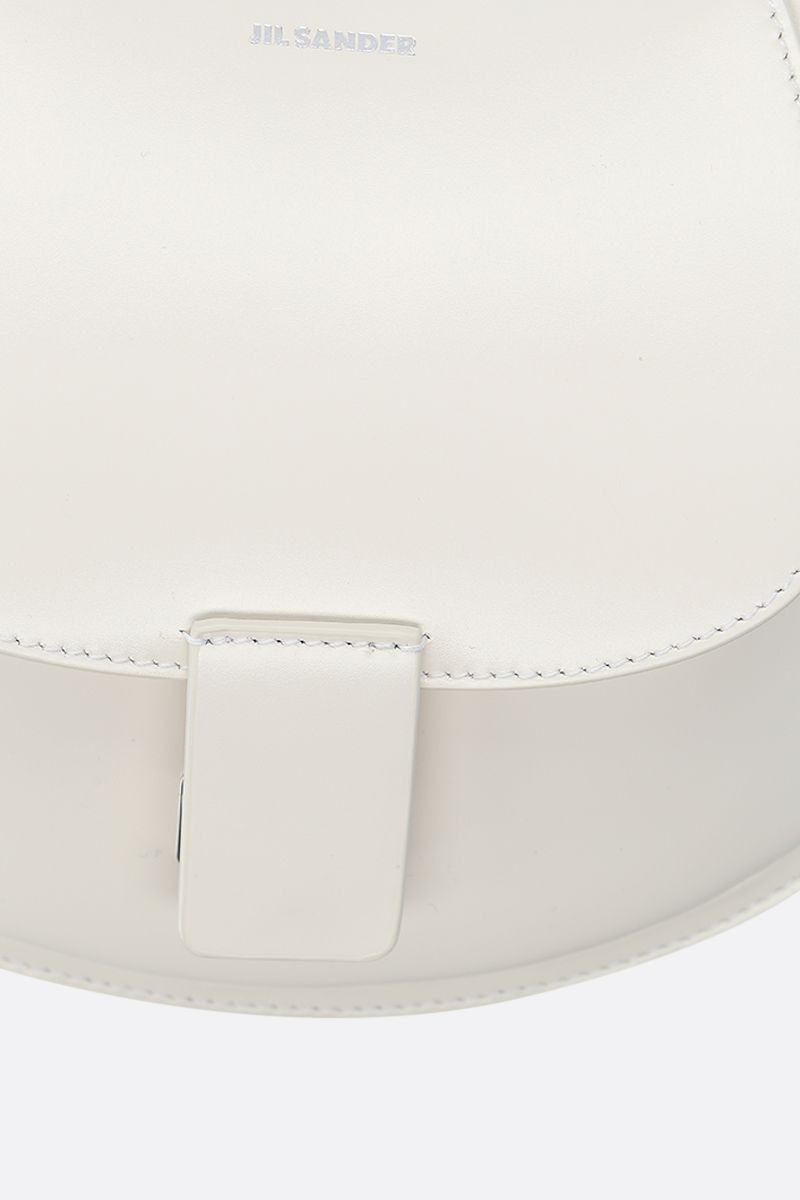 JIL SANDER: Crescent small smooth leather crossbody bag Color White_5
