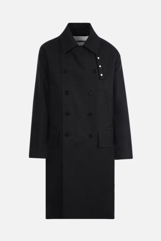 JIL SANDER: double-breasted cotton overcoat Color Black_1