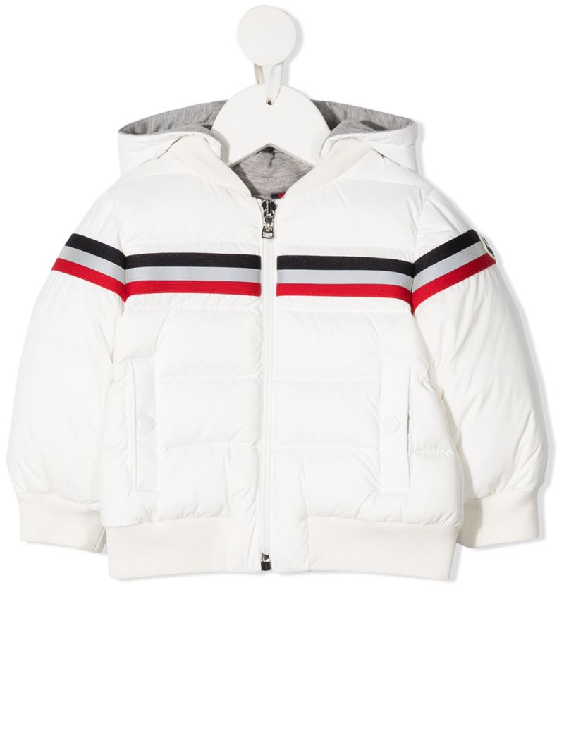 MONCLER KIDS: tricolour band-detailed nylon down jacket Color White_1