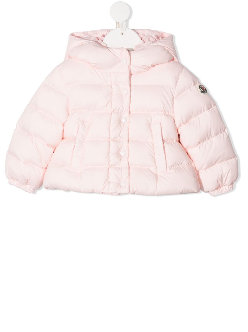 MONCLER KIDS: piumino in nylon patch logo Colore Rosa_1