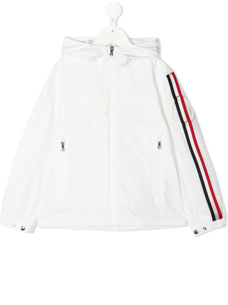 MONCLER KIDS: giacca a vento Vaug in nylon Colore Bianco_1