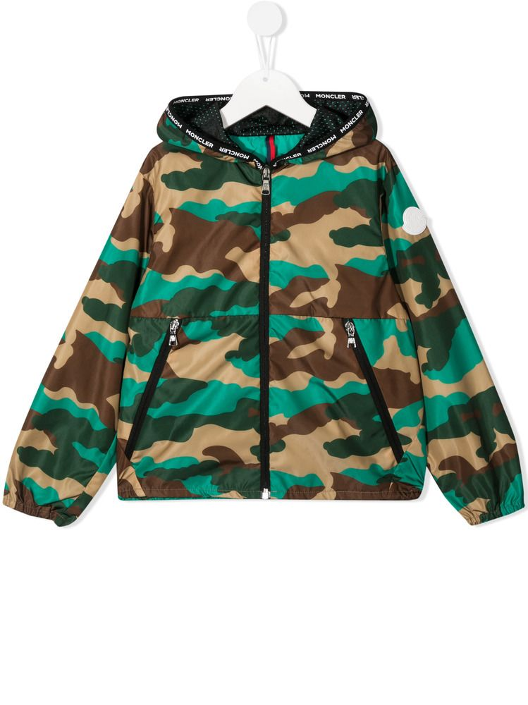 MONCLER KIDS: Nikandro camouflage print nylon windbreaker Color Multicolor_1