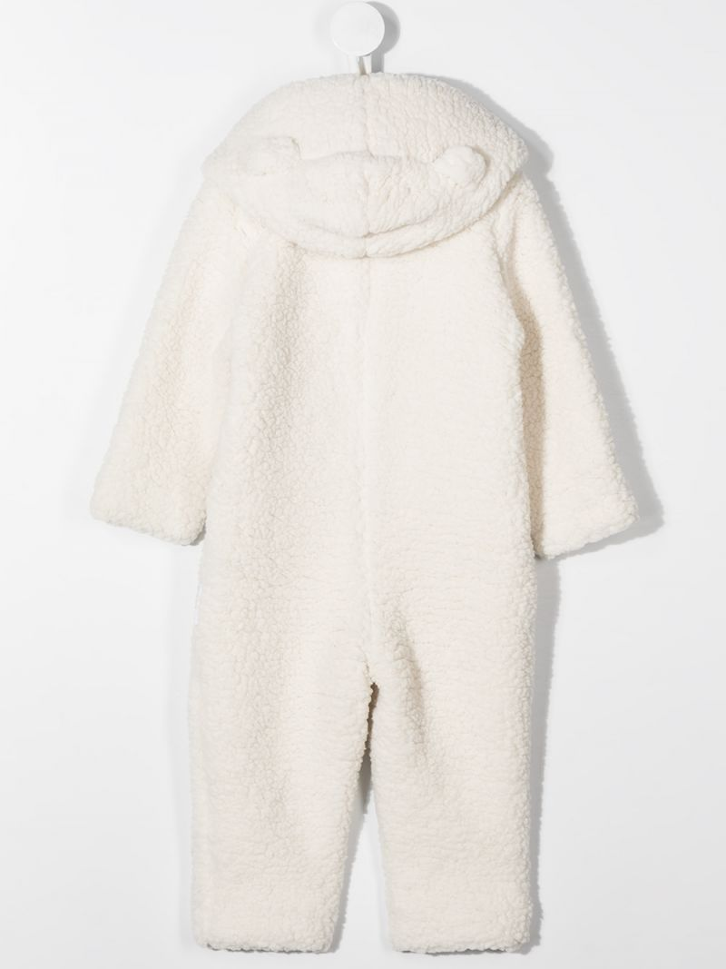 MONCLER KIDS: logo patch faux shearling playsuit Color White_2