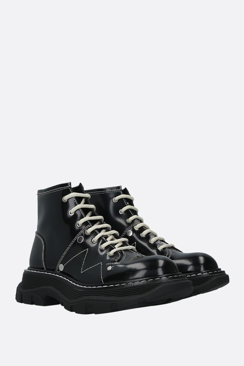 ALEXANDER McQUEEN: shiny leather combat boots Color Black_2
