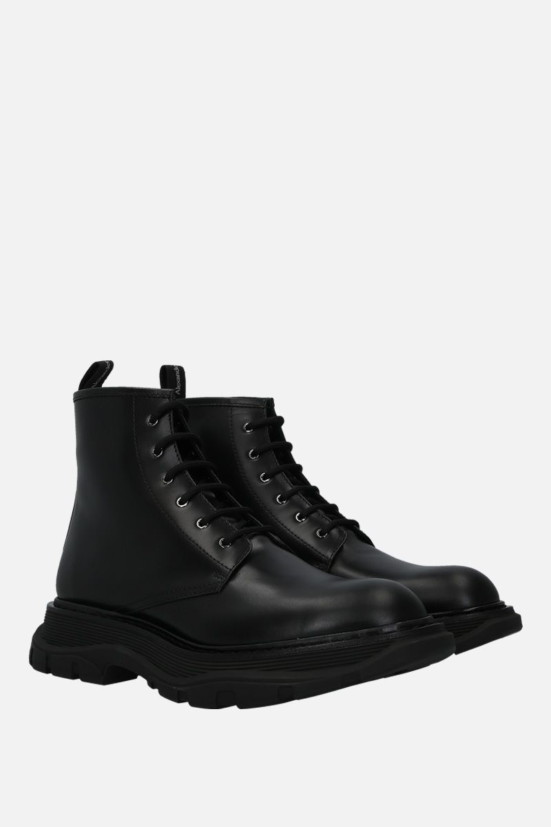 ALEXANDER McQUEEN: brushed calf combat boots Color Black_2