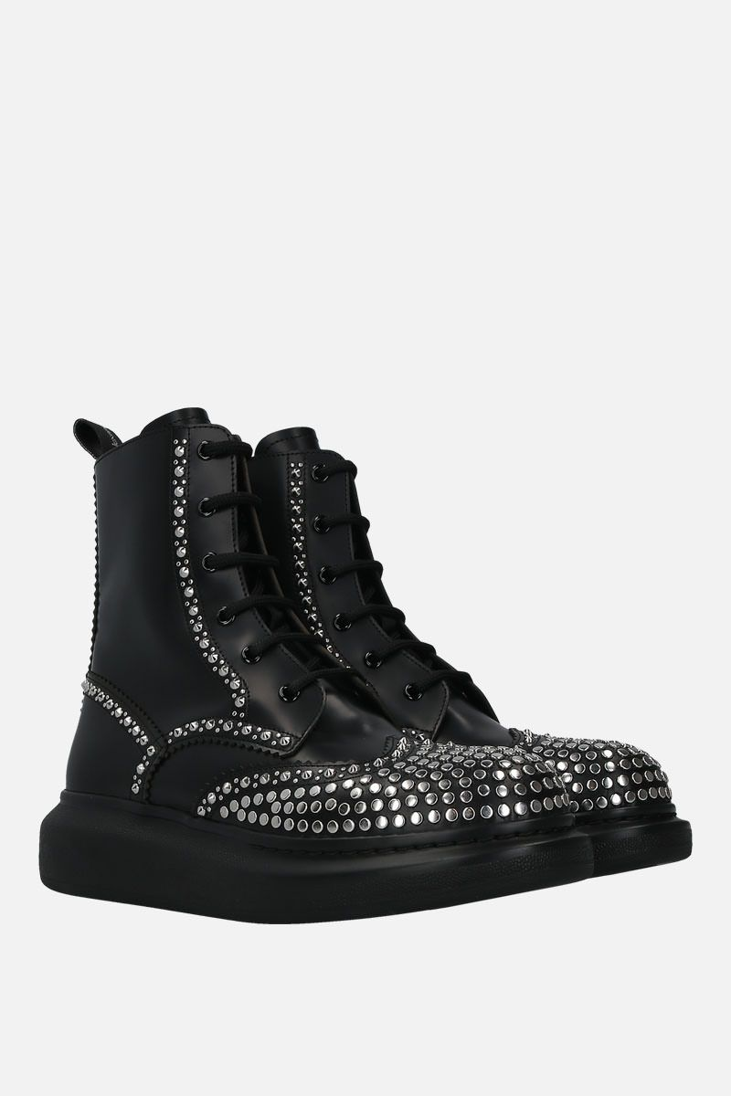 ALEXANDER McQUEEN: Hybrid studded leather combat boots Color Black_3