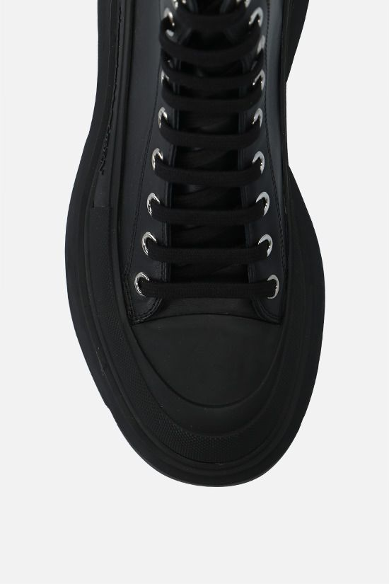 ALEXANDER McQUEEN: Thread smooth leather combat boots Color Black_5