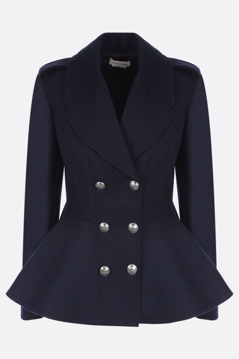 ALEXANDER McQUEEN: double-breasted cashmere wool blend coat Color Blue_1