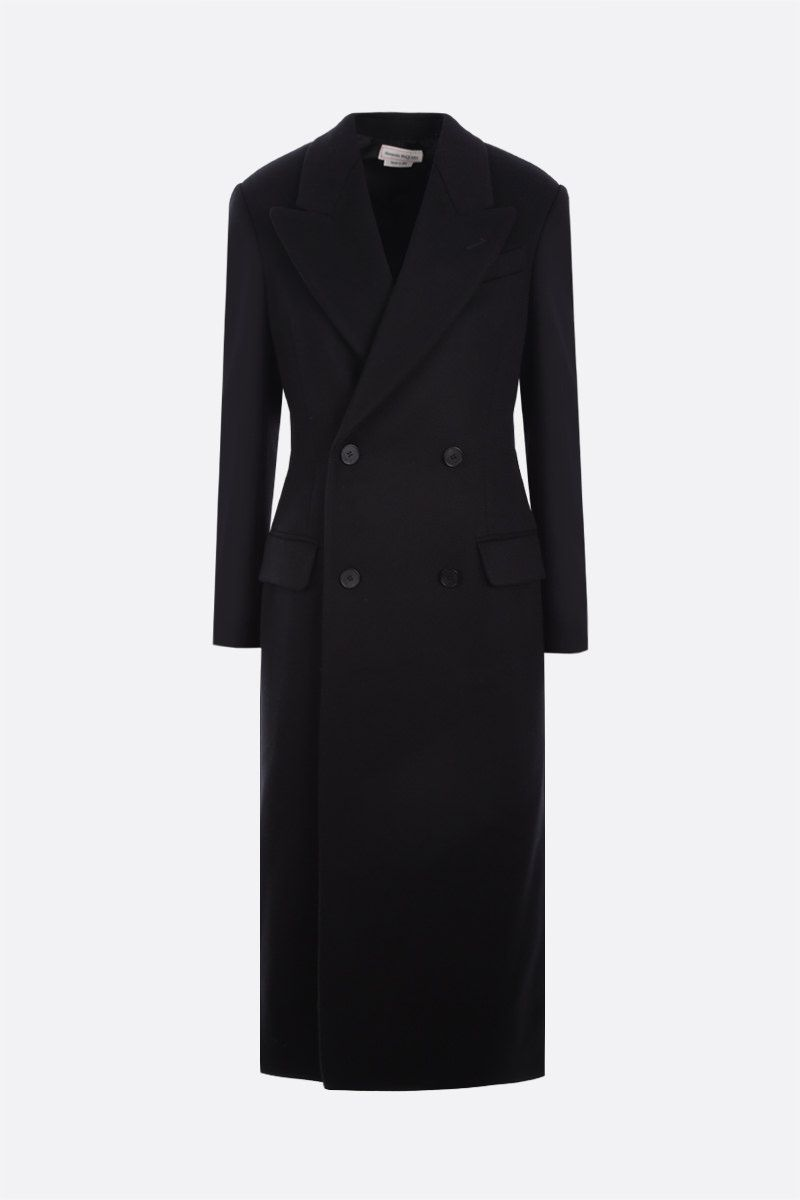 ALEXANDER McQUEEN: lace-detailed double-breasted cashmere wool blend coat Color Black_1
