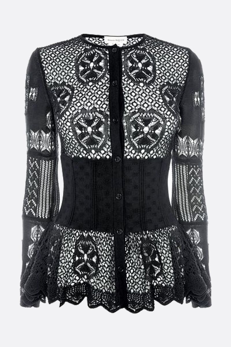 ALEXANDER McQUEEN: patchwork lace peplum cardigan Color Black_1