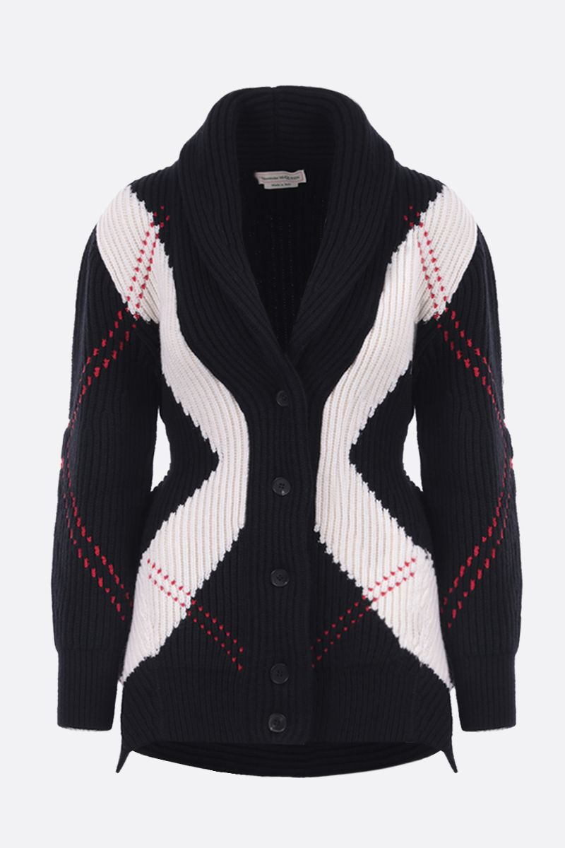 ALEXANDER McQUEEN: ribbed wool cashmere blend cardigan Color Multicolor_1