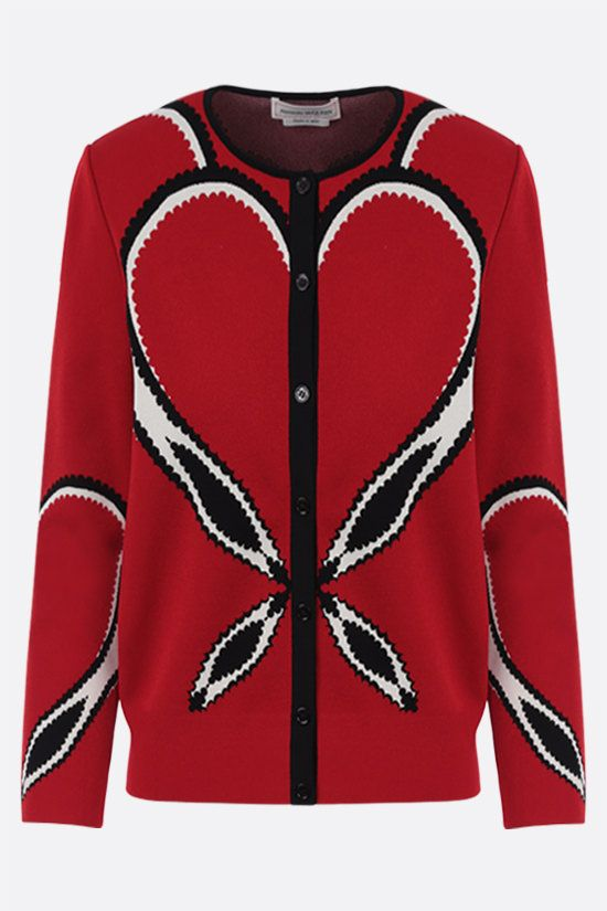 ALEXANDER McQUEEN: jacquard heart-motif stretch knit cardigan Color Red_1
